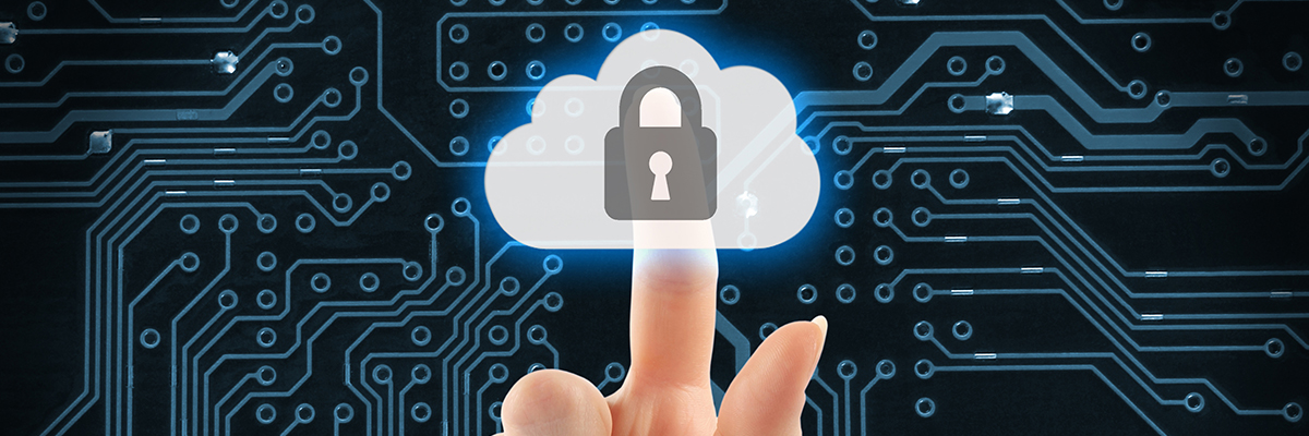 finger clicking in a secure cloud and microship background that represents our it support services